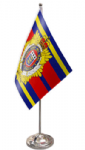 Royal Logistic Corps Desk / Table Flag with chrome stand and base